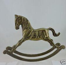 VINTAGE BRASS ROCKING HORSE FIGURINE STATUE TOY METALWARE BRASSWARE