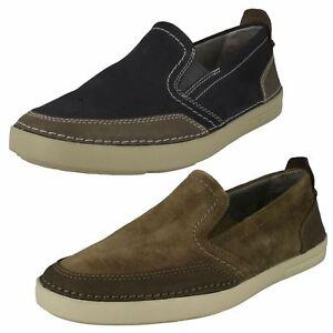 Mens Clarks Gosler Race Blue Or Olive Suede Lightweight Slip On Shoes