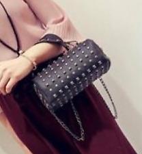Leather Full Studded Shoulder Bag - Black