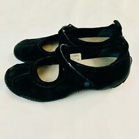 Merrell Circuit MJ Midnight Black Suede Leather Mary Jane Shoes Womens Sz 9