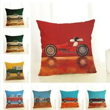 Square Cotton Linen Pillow Case Cute Cartoon Dog Drive Car Pillow Cushion Cover