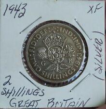 1943 Great Britain Uk United Kingdom King George Vi Silver 2 Shillng