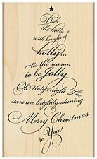 Christmas Caroling Tree Text, Wood Mounted Rubber Stamp PENNY BLACK - NEW, 4398L