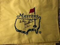 Big 3 signed Masters Flag - Jack Nicklaus, Gary Player , Arnold Palmer -
