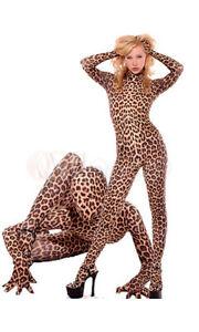 Halloween Costume Lycra Spandex sexy Leopard Animal Zentai catsuit Full Bodysuit