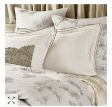 MICHAEL ARAM Set of 2 King Pillow Shams ORCHID Ivory Taupe Border New