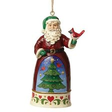 Jim Shore - Heartwood Creek - Mini Santa With Cardinal  Hanging Ornament