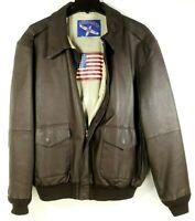 Airborne Leather Bomber Jacket Coat Men's Lined Full Zip Brown Size XLT
