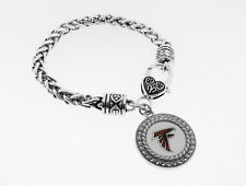 Atlanta Falcons Football Charm  With Antique Silver Plated Lobster Claw Bracelet