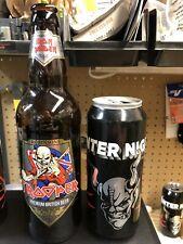 Iron Maiden Trooper Empty Glass Beer Bottle & Metallica Enter Night Empty Can