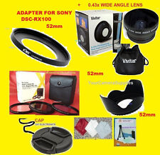 22:0.43X WIDE ANGLE LENS 52mm+ADAPTER TO CAMERA SONY DSC-RX100M2 RX100M3 RX100M4