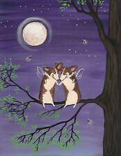 8X10 Print Of Painting Pembroke Welsh Corgi Folk Art Ryta Fairy Faery Spring