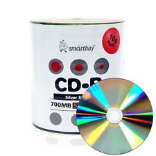 100 Smartbuy CD-R 52X 700MB/80Min Shiny Silver Blank Media Recording Disc