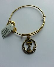 Alex and Ani Anchor Charm Bangle Bracelet BOX NWT Nautical Rafaelian Gold