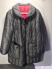 Vintage White Bear of St Paul womens grey/red button up quilted winter Coat 16
