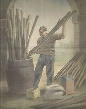 K0219 Agricoltore - Botte in legno - Pali - Stampa antica (G. Bartoletti)