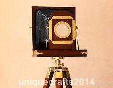 Vintage Designer Wooden Camera With Tripod Retro Look Nautical Home Decorative..