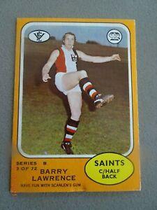 BARRY LAWRENCE-(ST KILDA)-1973B SCANLENS CARD ( NO. 3 )- VERY GOOD PLUS