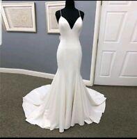 UK White ivory Satin Spaghetti Straps Backless Mermaid Wedding Dresses Size 6-18