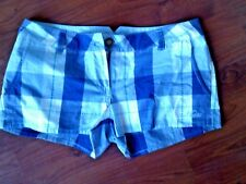 LADIES MUSTO BLUE CHECKED COTTON SHORTS SIZE 10 BNWT COST £40