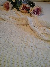 Antico Francese c1920 tessile ~ Mano/ago chochet Lace Tovaglia ~ Letto Copriletto