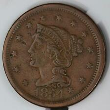 1854 Braided Hair Large Cent - Great Details *DoubleJCoins* 4009-43