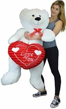 "Life Size White Teddy with I Love You Red Heart Bear Over 52"" Tall 370788"