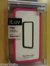 New iLuv Edge Pink Flex-Trim Case Apple iPhone 4 4S ATT Verizon Flexable Snap-on