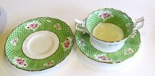 Cauldon Gilman Collamore Fine China ~ Green Scales Pink Roses ~  Cream Soup Bowl