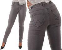 Wrangler Damen Jeanshose Body Bespoke Straight Concrete Plan Grau W27 - W34