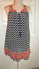 women's Crown & Ivy P S Petite Small Sleeveless BOHO Dress Black Pink Rayon
