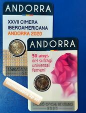ANDORRA 2 euro 2020 COPPIA monete IBEROAMERICAN + Suffragio Universale Femminile
