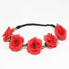 Boho Bridal Rose Flower Headband Elastic Crown Hair Garland Headpiece Red