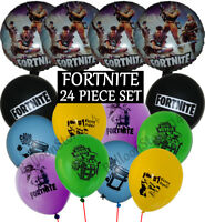 24 Pc Set FORTNITE Balloons - Latex & Foil Fort Nite Birthday Party Decorations