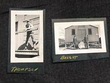 WWII ERA Photos 2pcs US ARMY Air Force Soldiers THOMPSON BARETT barracks