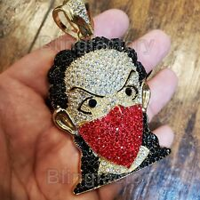 HIP HOP ICED OUT LAB DIAMOND GOLD PLATED RED MASKED GOON BLING PENDANT