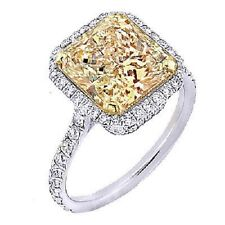 1.40 Ct. Fancy Yellow Radiant Cut Diamond Engagement Ring GIA VS2 18k NATURAL