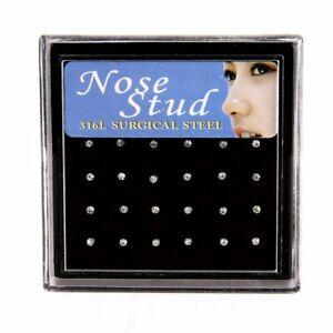Fashion Crystal Rhinestone Nose Ring Bone Stud Stainless Steel Body Piercing Lot
