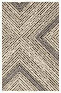 Modern Tremont Grey & Cream Geometric Hand-Tufted 100% Wool Soft Area Rug Carpet