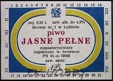 Poland Brewery Lublin Jasne Pełne Beer Label Bieretikett Etiqueta Cerveza lu39.3