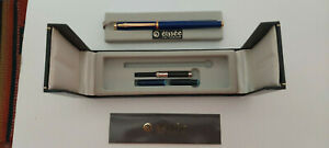Elysee fountain pen - Blue in box with papers, cartridges and convertor