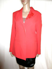 Womens Red Embellished Design Formal Tailored Evening Blazer Jacket sz 12 M AL18