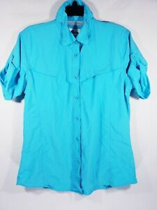 Women's World Wide Sportsman Fishing Shirt Size Small Aqua Button Front Vented