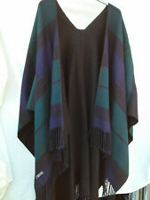 Reversible acrylic shawl with tassels - black blue green stripes / check