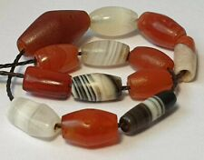 13 ANCIENT RARE INDO TIBETAN BANDED AGATE AND CARNELIAN BEADS