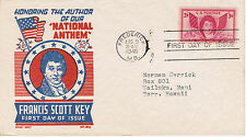 POSTAL HISTORY-1948 FDC FRANCIS SCOTT KEY AUTHOR NATIONAL ANTHEM CACHET CRAFT