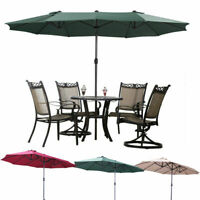 Patio Umbrella -7.7/10/15 Ft - Hanging Sun Shade Offset Outdoor UV Resistant Red