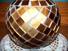 "Metallic gold bronze mosaic sphere vase 5"" high round table home decor CHRISTmas"