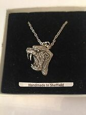 """Silver Platinum Plated Necklace 18"""" Sabre-Toothed Cat Ttp Emblem on"""