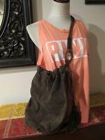 Lucky Brand Women's Leather Suede Hobo Dark Brown Shoulder Bag